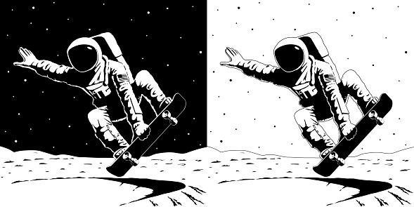 Print astronaut on skateboard on the moon black white