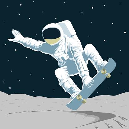 Print astronaut on skateboard on the moon