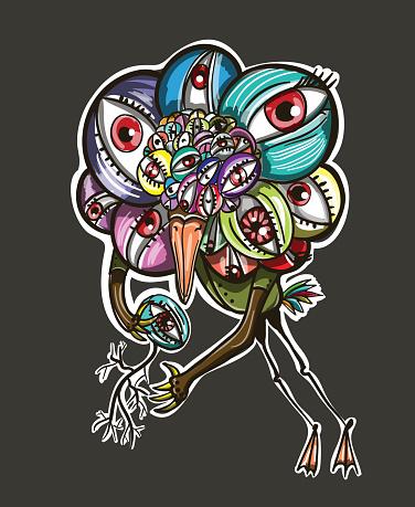 Print bird with many eyes