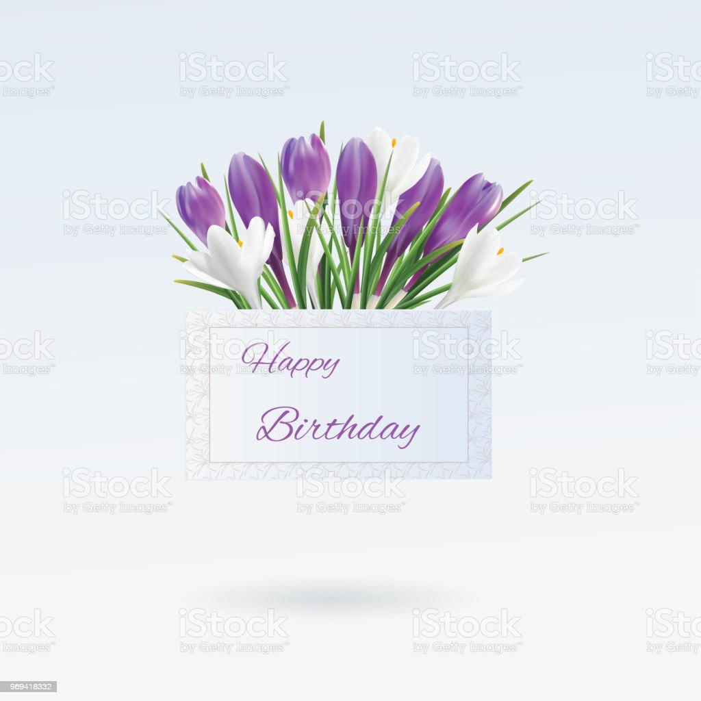 Print birthday greeting card with flowers