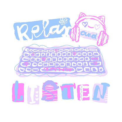 Print design with headphones and keyboard for baby textiles, t-shirts, hand drawing, slogan relax and listen. Typography design for gamer.