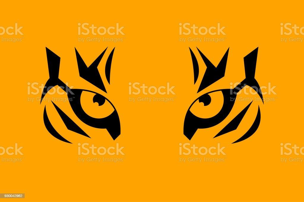 Print eye of tiger vector art illustration