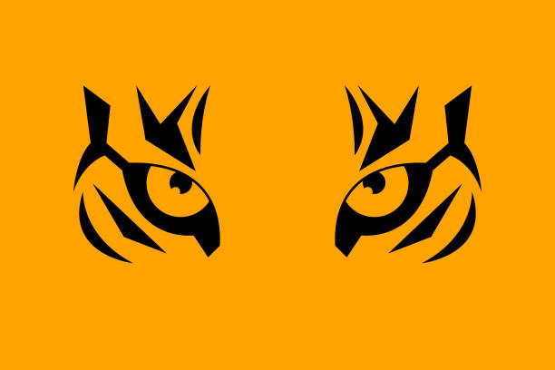 print eye of tiger - tiger stock illustrations, clip art, cartoons, & icons