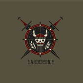 Print for barbershop, hairdresser, beauty salon. Viking skull on the shield with swords. Vector illustration colorful