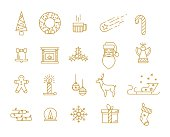 Golden Christmas icons in the style of a fine line. Modern lightweight style for greeting the new year 2016
