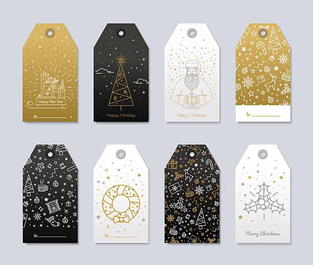 ilustrações, clipart, desenhos animados e ícones de imprimir por decorações de natal - tag