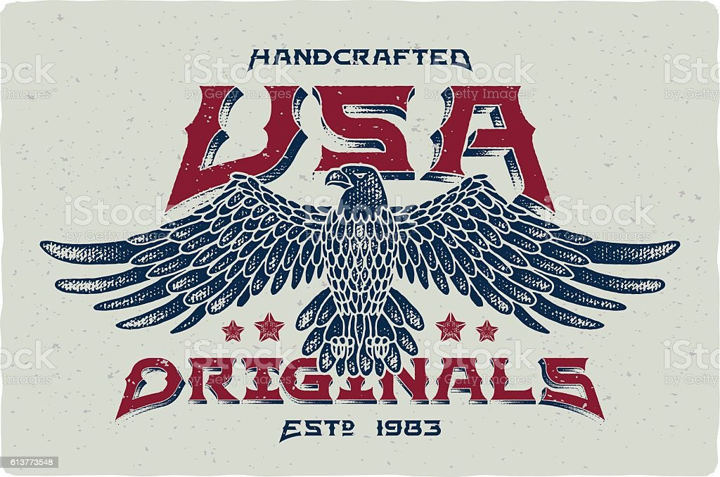 Print for t-shirt with bald eagle illustration and text 'Handcrafted - ilustración de arte vectorial