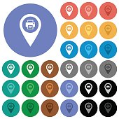 Print GPS map location round flat multi colored icons