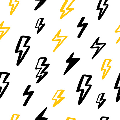 Print grunge thunderbolt seamless pattern for wallpaper design in black and yellow colors. Abstract geometric art background. Vector design.