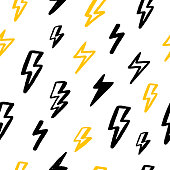 Print grunge thunderbolt seamless pattern for wallpaper design in black and yellow colors. Abstract geometric art background. Vector design