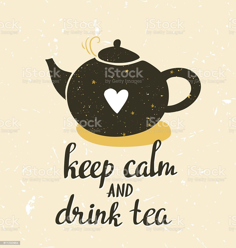 Messy Kitchen Catering: Print Invitation Teapot And Phrase Keep Calm And Drink Tea