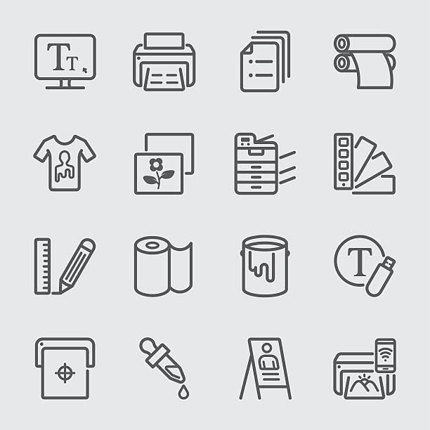 인쇄 꺾은선형 아이콘크기 - 말기 stock illustrations
