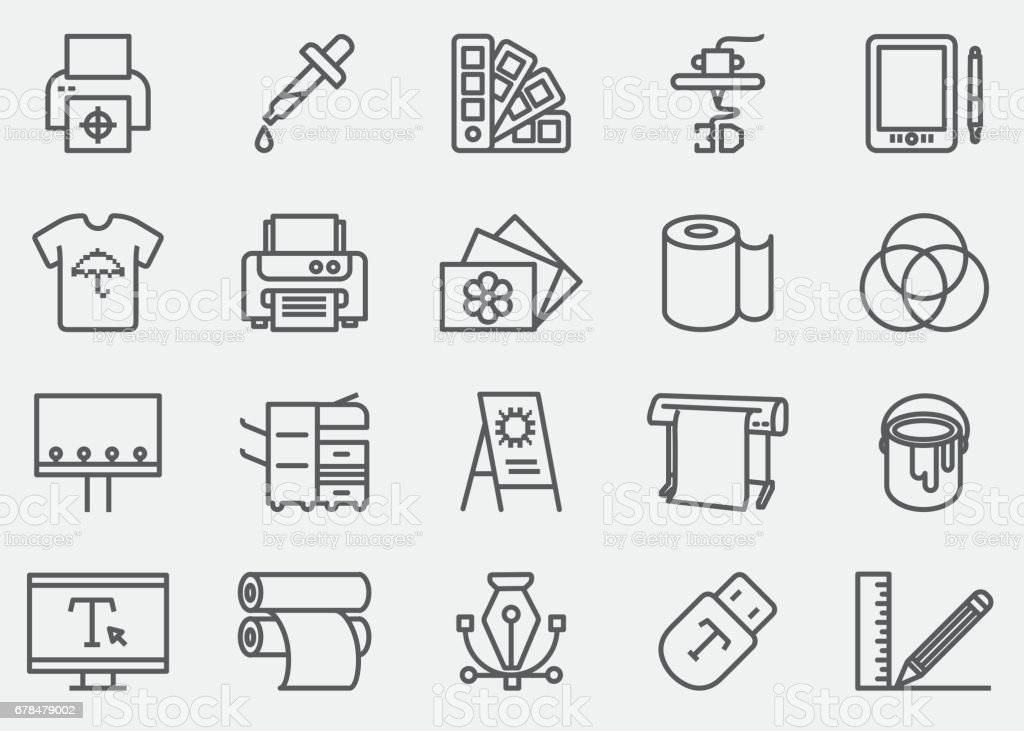 Print Line Icons | EPS 10 vector art illustration