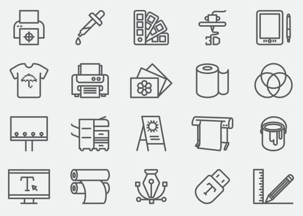 illustrations, cliparts, dessins animés et icônes de imprimer ligne icônes | eps 10 - infographie industrie manufacture production