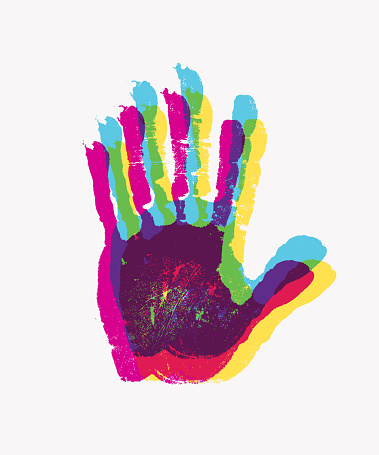 Print of human hand. Scanning the palm and fingers