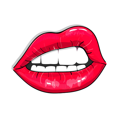 Print Of Pink Sexy Lips Glamour Girl Vector Illustration ...