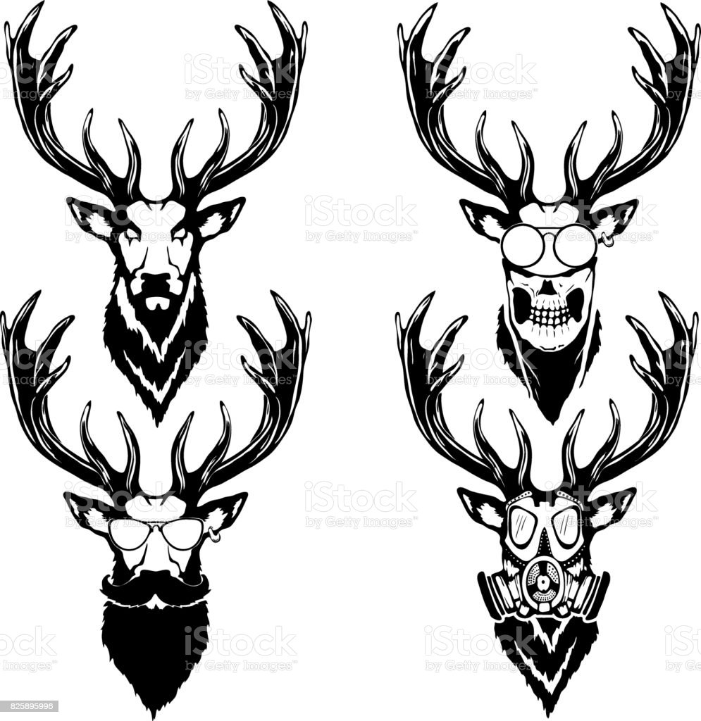 print on tshirt isolated illustration of a deer head stock vector
