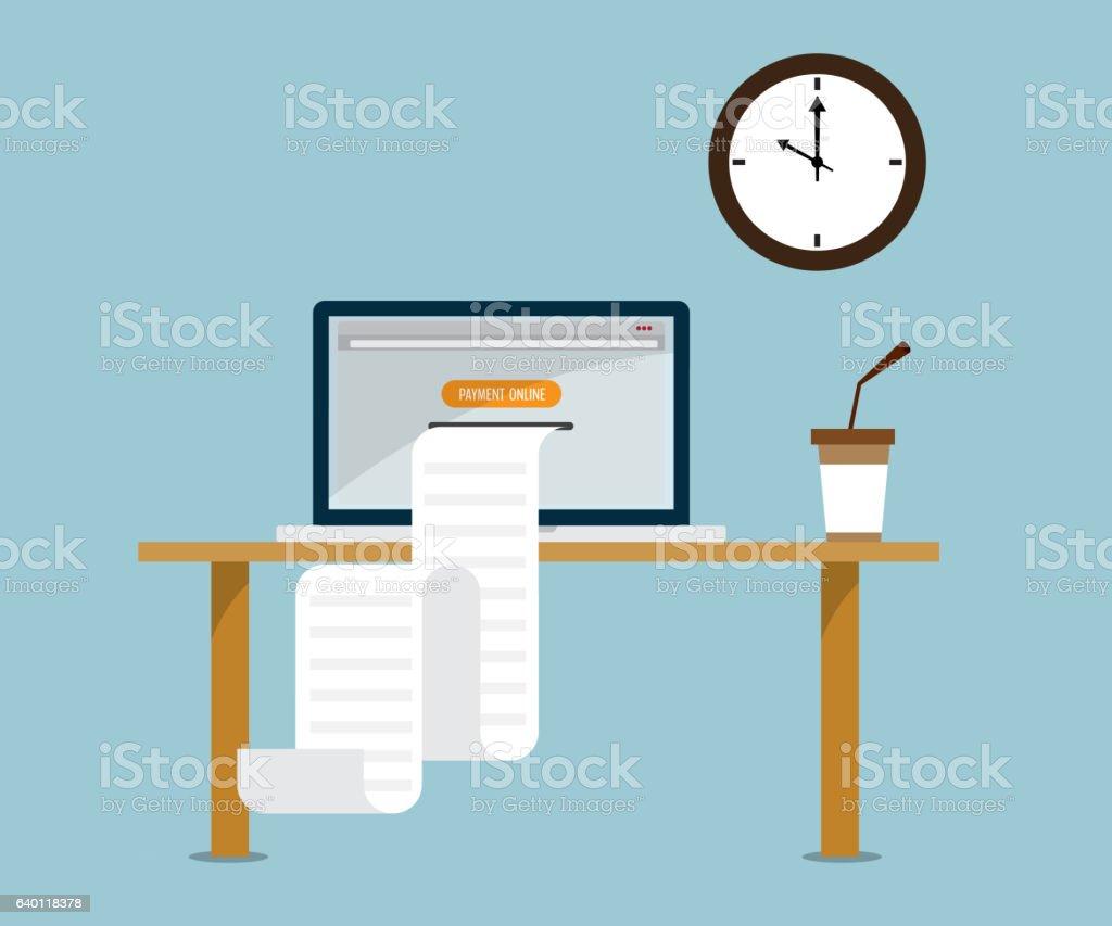 print payment online bill from laptop - arte vettoriale royalty-free di Affari