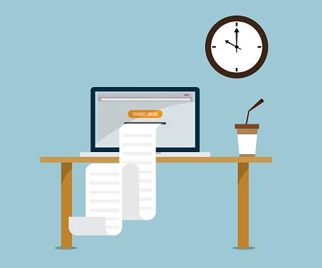 Print Payment Online Bill From Laptop - Immagini vettoriali stock e altre immagini di Affari