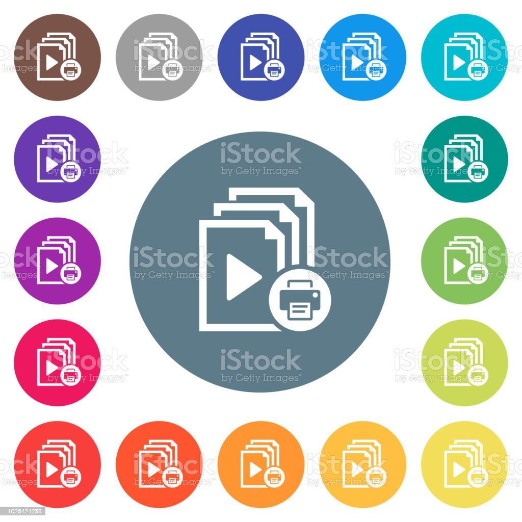 Print playlist flat white icons on round color backgrounds vector art illustration