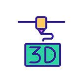3D print printer icon vector. Thin line sign. Isolated contour symbol illustration