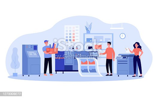 Print production concept. Typography workers using big commercial printer for printing colorful posters. Vector illustration for ad agency, printing industry, typography topics