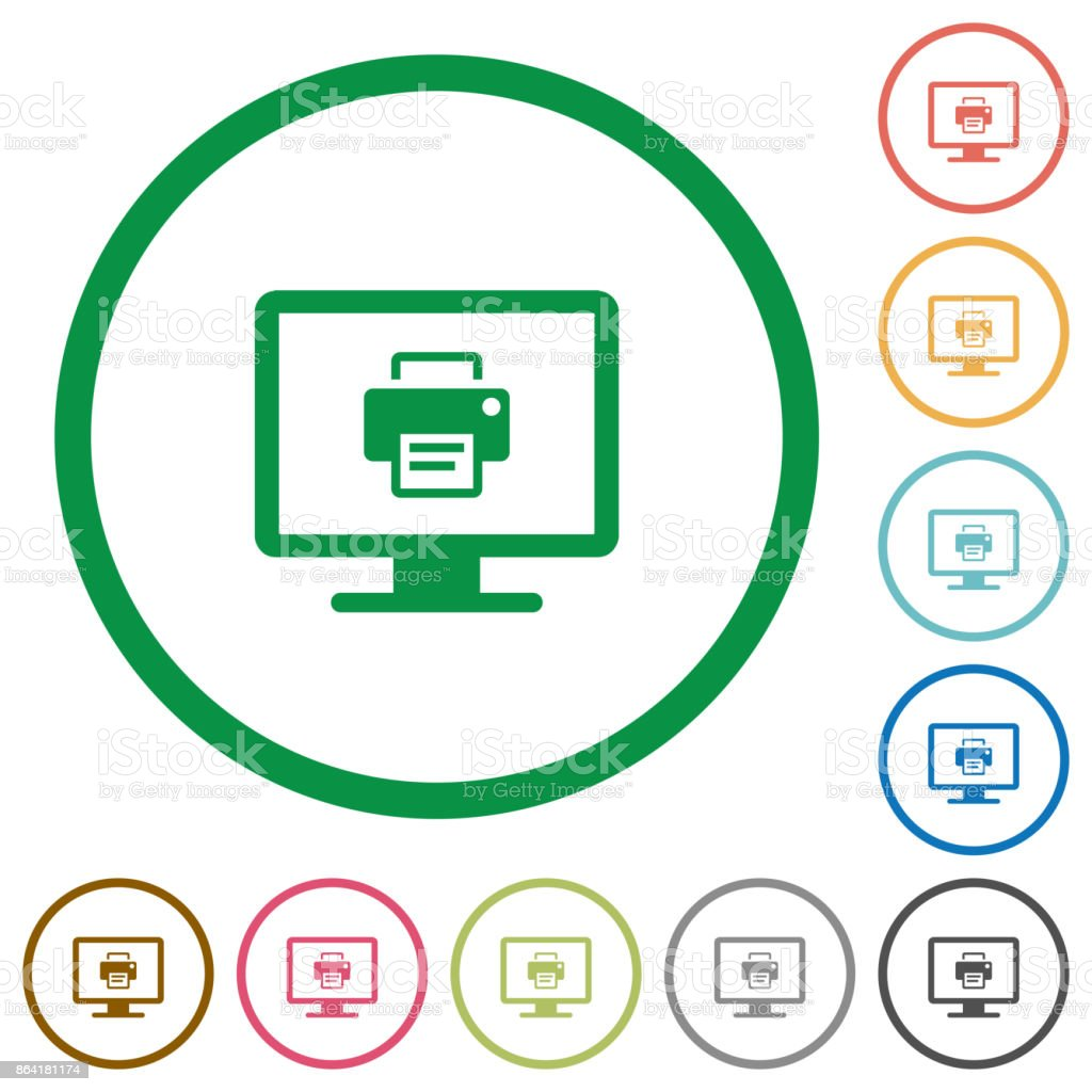 Print screen flat icons with outlines royalty-free print screen flat icons with outlines stock vector art & more images of appliance