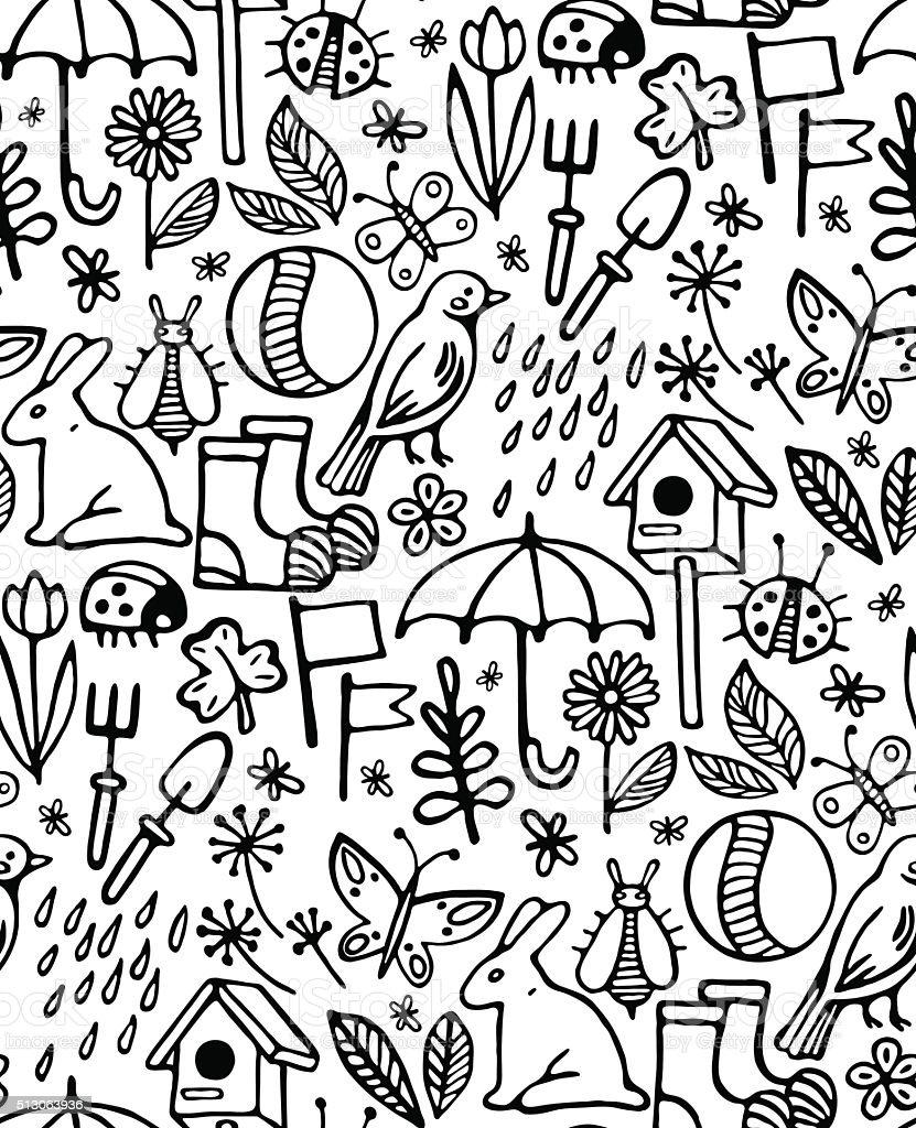 print, seamless pattern, set of black icons and symbols vector art illustration