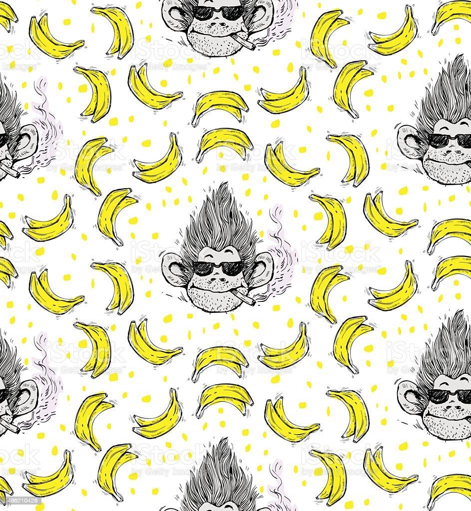 Print Nahtlose Muster Mit Rauchen Affen Gesicht Mit Brille Stock ...