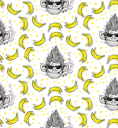 print, seamless pattern with smoking monkey face with glasses