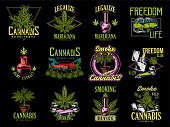 Vintage graphic set green cannabis marijuana hemp medical weed device joint for smoking old school car graphic design print t shirt sweatshirt banner phrases for embroidery on clothes illustration.