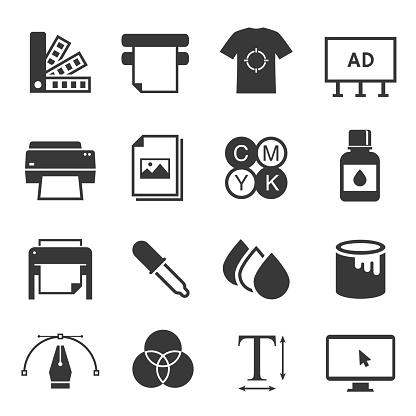 Print shop black and white glyph icons set
