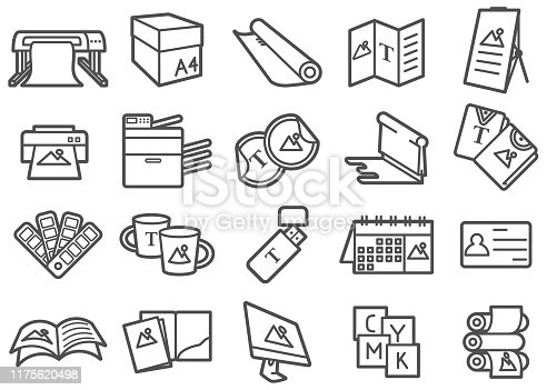 There is a set of icons for print shop and related tools in the style of Clip art.
