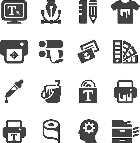 stockillustraties, clipart, cartoons en iconen met print silhouette icons | eps10 - drukken