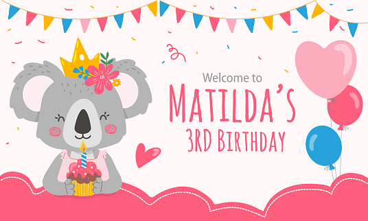 Print template with koala bear princess for welcome sign.Event decor for girl party in pink color.Modern vector illustration in flat style.