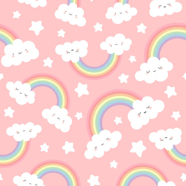 Print Cloud Background, Rainbow Seamless Pattern, Cartoon Vector Illustration,  Sky Background for Kid unicorn stock illustrations