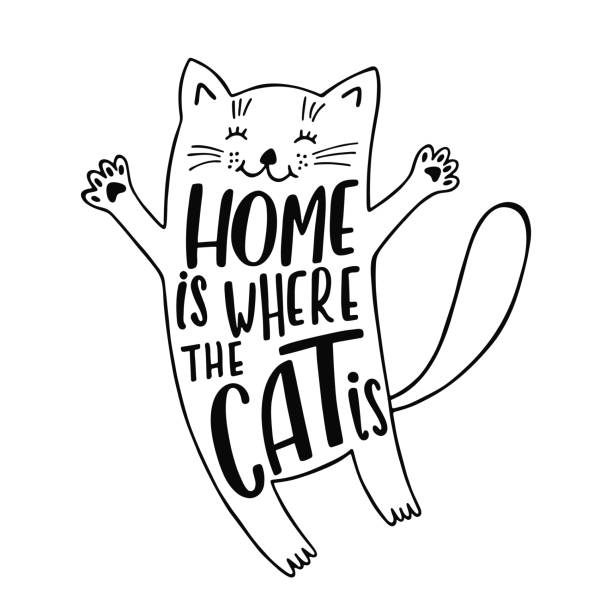 Print Home is where the cat is. Handwritten inspirational quote about cat. Cute cartoon kitty. Typography lettering design. Black and white vector illustration isolated on white background. aphorism stock illustrations