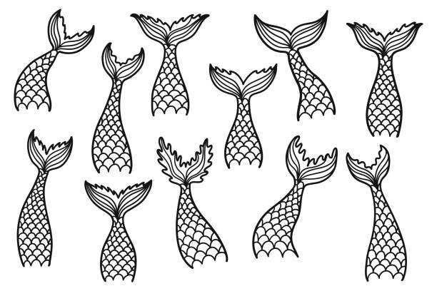 illustrations, cliparts, dessins animés et icônes de imprimé - tatouages sirènes