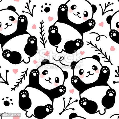 Cute Panda Seamless Pattern, Animal Background