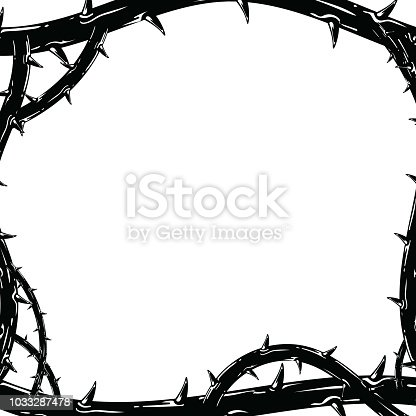 Frame of thorns, border for the Lent season, graphic element, black and white vector illustration.