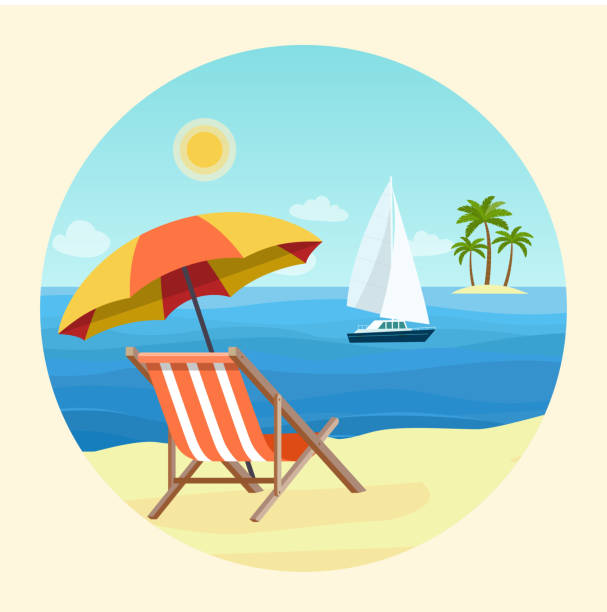 Print Deck chairs and umbrella beach on the beach. Sailing ship in the ocean.  Vector flat style illustration outdoor chair stock illustrations
