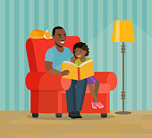 Afro american father and daughter are sitting in a chair.Father is reading a book to his daughter.  Vector flat style illustration