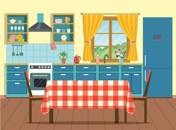 Print Cozy interior kitchen in rustic style with table and chairs and window. Vector flat style  illustration domestic kitchen stock illustrations