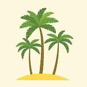 Palm trees isolated. Vector flat style illustration