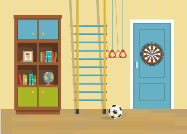 Print Nursery.  Door, bookcase and sports equipment. Flat style vector illustration bedroom borders stock illustrations