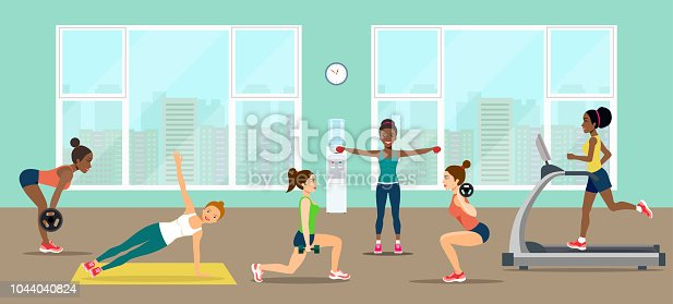 Girls pick up a dumbbell and do cardio in the gym. Empty gym with exercise equipment.  Vector flat style illustration