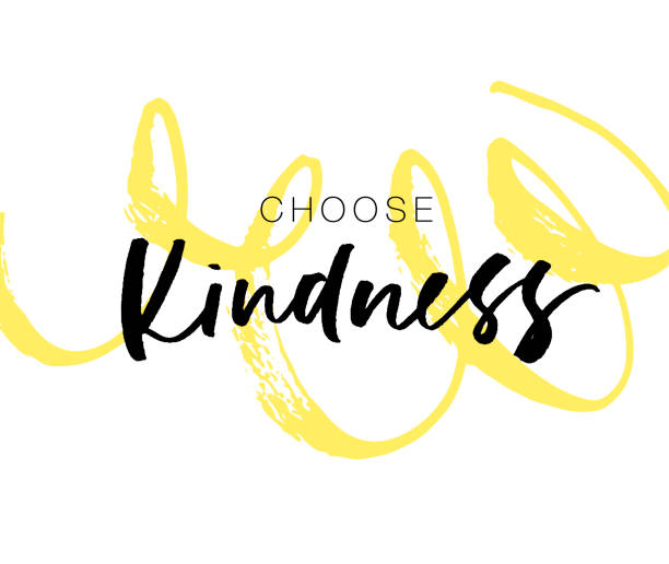 Печать Choose kindness postcard with curly brush stroke. Hand drawn brush style modern calligraphy. Vector illustration of handwritten lettering. inspirational quotes stock illustrations