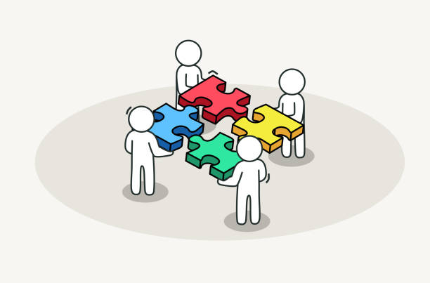 Print Group of people assembling jigsaw puzzle. Partnership and business solution concept. Vector illustration four people stock illustrations