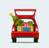 Gift boxes and christmas in the trunk of the car. Merry christmas. Vector flat style illustration