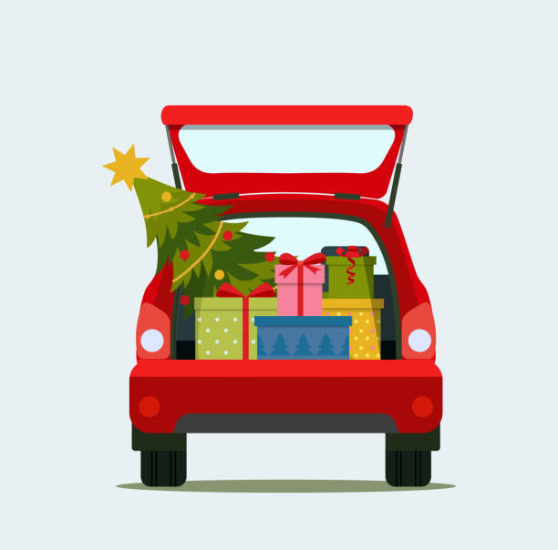 Print Gift boxes and christmas in the trunk of the car. Merry christmas. Vector flat style illustration hatchback stock illustrations